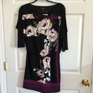 WHBM 3/4 sleeve dress slinky purple black XS